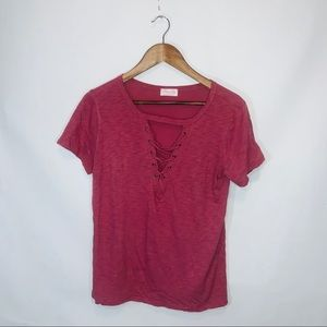 Pink lily boutique pink top laced blouse